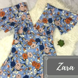 Zara Batwing Sleeve V neck Vintage Floral Dress M